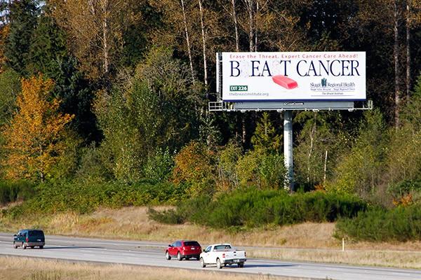 Skagit Regional Health Erase Breast Cancer Campaign Billboard on I-5