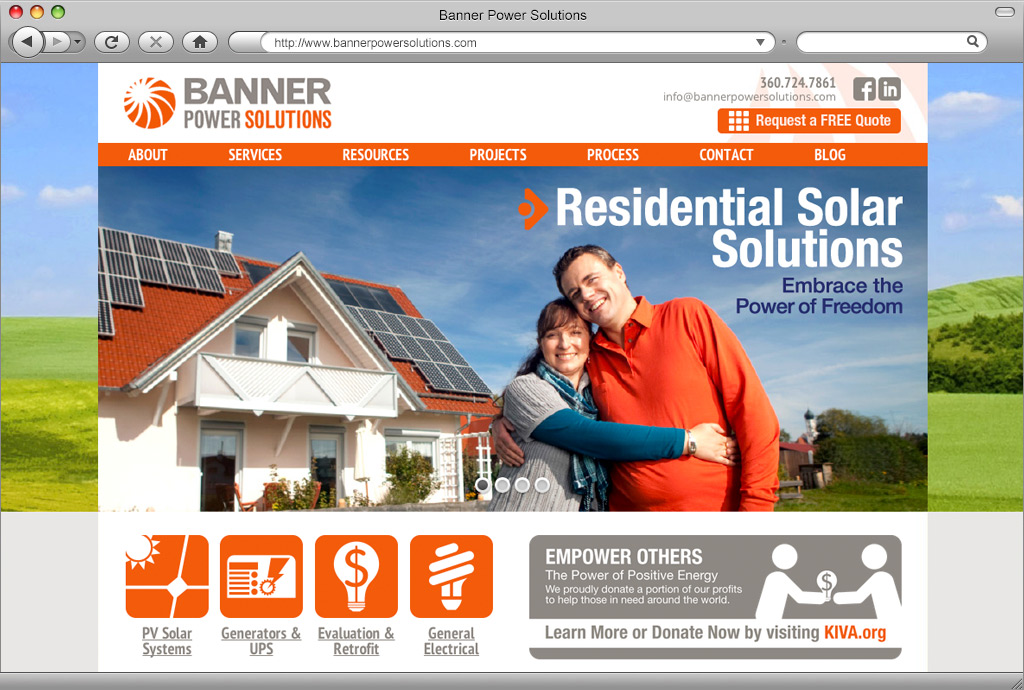 Banner Power Solutions Website Home Page