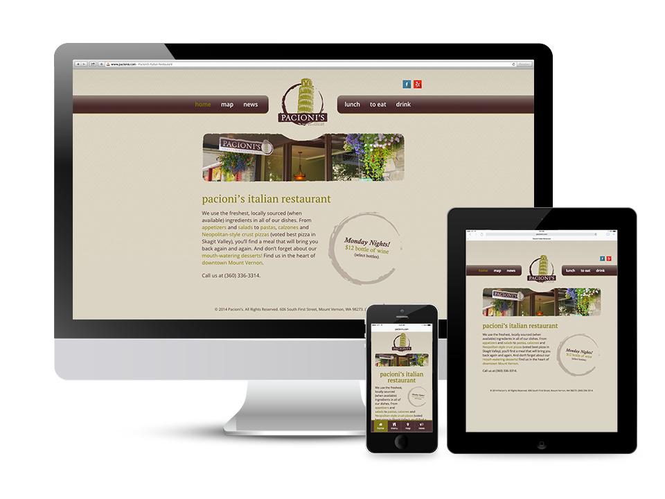 Pacioni's Italian Restaurant Responsive Website Design