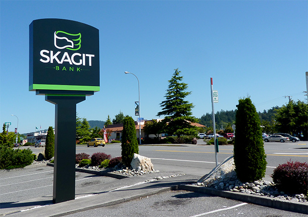 Skagit Bank Environmental Signage - Pylon Illuminated Sign