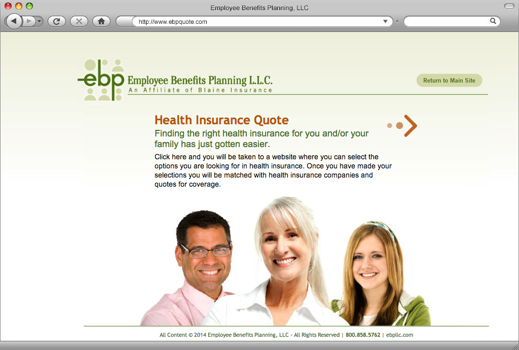 Employee Benefits Planning Landing Page for EBPQuote.com